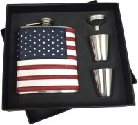 KARP USA Flag 7oz Leather Wrapped Stainless Steel 304 Hip Flask / 2 Shot Glass / 1 Funnel Set 4 - Piece Bar Set (Stainless Steel)