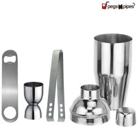 Pegs'N'Pipes Cocktail Shaker, Peg Measure, Ice Tongs & Bottle Opener 4 - Piece Bar Set (Stainless Steel)