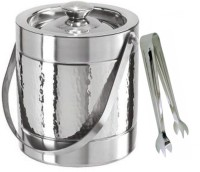 THW Premium Double Wall Centre Hammered Ice Bucket With Tong 2 - Piece Bar Set (Stainless Steel)