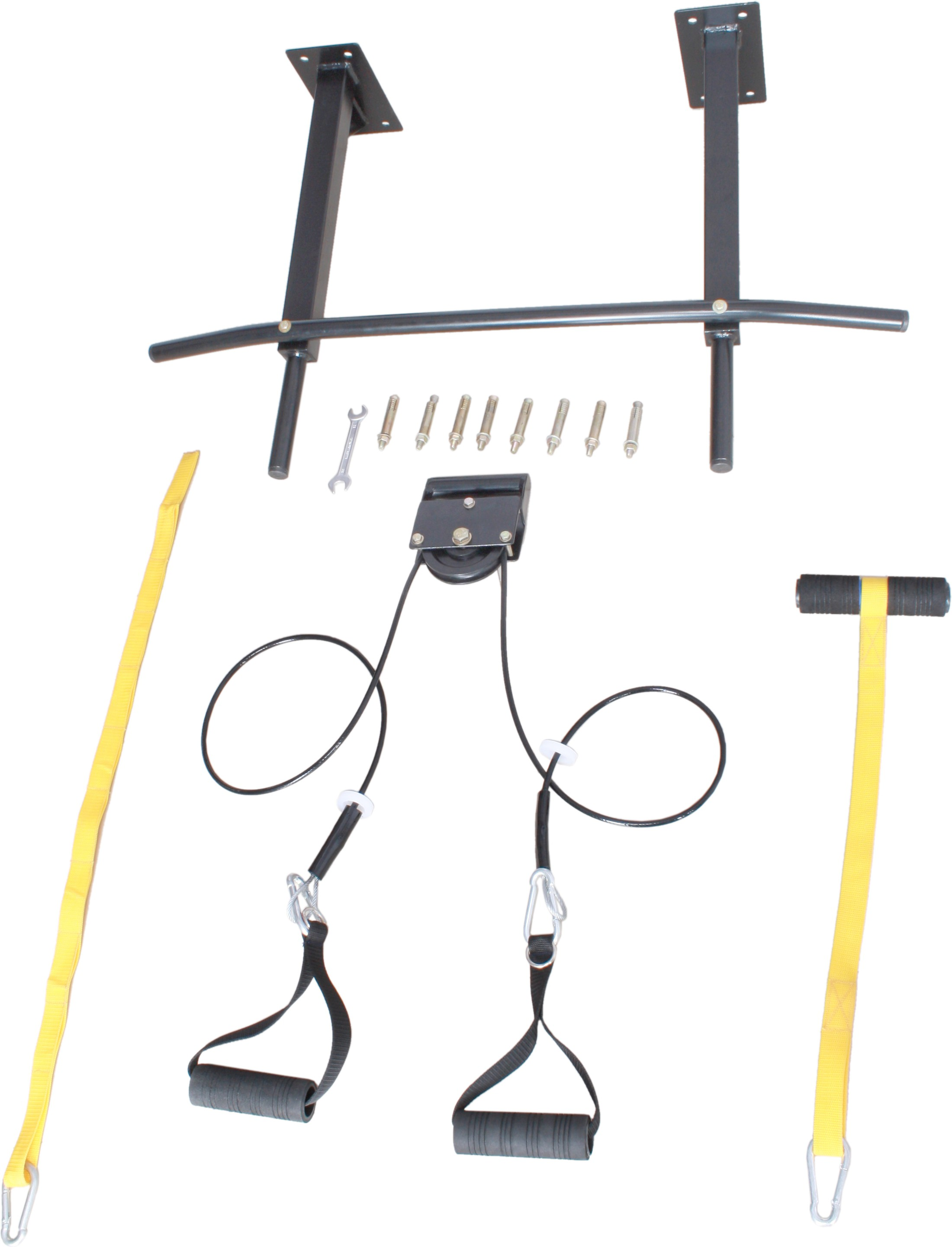 Home gym dynamics with pulley core trainer pull up bar