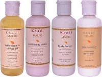 Khadi Mauri Combo Pack - Bubble Bath, Conditioning Cream Shampoo, Body Lotion & Herbal Moisturizer - Pack Of 4 (210 Ml)