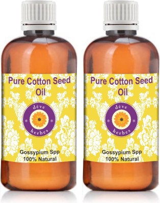 Deve Herbes Pure Cotton Seed Oil Pack Of Two Gossypium Spp 100% Natural Cold Pressed