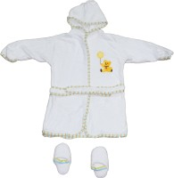 Belle Maison White Large Bath Robe (1 Bath Robe, 2 Bathroom Slipper, For: Baby Boys & Baby Girls, White)