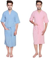 Simrit Light Blue-Pink-MBR-7-MB101-8-MB101-7 Free Size Bath Robe 2 Bath Robes, For: Men, Light Blue-Pink-MBR-7-MB101-8-MB101-7