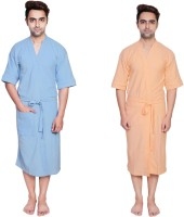 Simrit Light Blue-Peach-MBR-7-MB101-8-MB101-9 Free Size Bath Robe 2 Bath Robes, For: Men, Light Blue-Peach-MBR-7-MB101-8-MB101-9