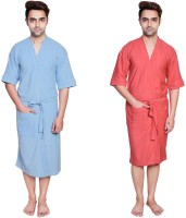 Simrit Light Blue-Peach-MBR-7-MB101-8-MB101-2 Free Size Bath Robe 2 Bath Robes, For: Men, Light Blue-Peach-MBR-7-MB101-8-MB101-2