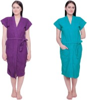 Simrit Purple-Light Green-BR-7-BTR101-8-BTR101-5 Free Size Bath Robe 2 BATH ROBE, For: Women, Purple-Light Green-BR-7-BTR101-8-BTR101-5