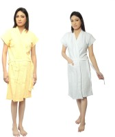 VeenaDdesigner Yellow, White Free Size Bath Robe 2 Bath Robe, For: Women, Yellow, White