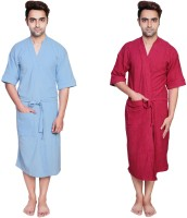 Simrit Light Blue-Pink-MBR-7-MB101-8-MB101-3 Free Size Bath Robe 2 Bath Robes, For: Men, Light Blue-Pink-MBR-7-MB101-8-MB101-3