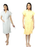 VeenaDdesigner White, Yellow Free Size Bath Robe 2 Bath Robe, For: Women, White, Yellow