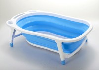 Baby Bucket Folding Baby Bath Tub For Infant Bathing Baby Bath Seat (Blue)