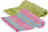 Goodway Stripes Cotton Bath Towel (Pack Of 2 Bath Towel, Green, Pink)