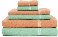 Swiss Republic Cotton Bath, Hand & Face Towel Set 2 Bath Towels, 2 Hand Towels, 2 Face Towels, Light Green, Light Pink