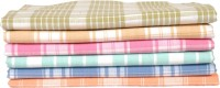 Apr Brand Checks Cotton Bath Towel 6 Bath Towels, Green, Blue, Dark Green, Dark Blue, Orange, Pink