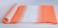 Sathya Turkish Cotton Bath Towel (1 Bath Towel, Orange, White)