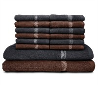 Swiss Republic Cotton Bath & Face Towel Set (2 Bath Towels, 12 Face Towels, Dark Brown, Dark Grey)