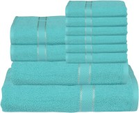 RR Textile House Cotton Bath, Hand & Face Towel Set Bath Towel 1, Ladies Towel 2, Hand Towel 6, 1 Face Towel, Blue