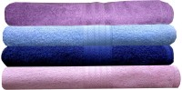 India Furnish Cotton Hand Towel Set 4 Bath Towels, Purple, Sky Blue, Navy Blue, Baby Pink