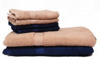 The Home Story Cotton Bath & Hand Towel Set 2 Bath Towels 30x60 Inches, 4 Hand Towels 16x24 Inches., Brown, Dark Blue