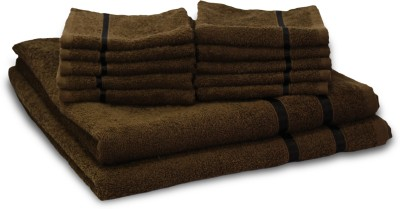 Story@home Cotton Bath & Hand Towel Set 2 Bath Towel And 10 Face Towel, Brown