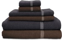 Swiss Republic Cotton Bath, Hand & Face Towel Set 2 Bath Towels, 2 Hand Towels, 2 Face Towels, Dark Brown, Dark Grey