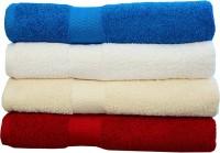 Rakshan Cotton Bath Towel Set (Pack Of Towel 4, Blue, White, Cream, Red)