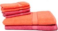 The Home Story Cotton Bath & Hand Towel Set 2 Bath Towels 30x60 Inches, 4 Hand Towels 16x24 Inches., Orange, Pink