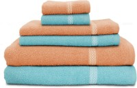 Swiss Republic Cotton Bath, Hand & Face Towel Set 2 Bath Towels, 2 Hand Towels, 2 Face Towels, Light Blue, Light Pink