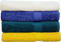Rakshan Cotton Bath Towel Set (Pack Of Towel 4, White, Royal Blue, Dark Blue, Yellow)