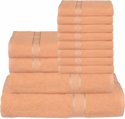 RR Textile House Cotton Bath, Hand & Face Towel Set 8 Face Towel, 2 Hand Towel, 1 Ladies Towel, 1 Bath Towel, Beige