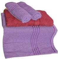 Trident Everyday Cotton Bath Towel Set (2 Bath Towel, 2 Hand Towels, Purple, Brown)