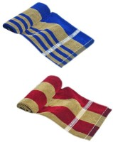 ShopSince Cotton Bath Towel ShopSince Blue & Maroon Cotton Bath Towels Set Of 2, Multicolor
