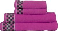 RR Textile House Cotton Bath, Hand & Face Towel Set 4, Purple