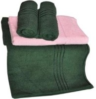 Trident Everyday Cotton Bath Towel Set 2 Bath Towel, 2 Hand Towels, Dark Green, Pink