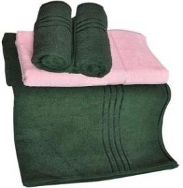 Trident Everyday Cotton Bath Towel Set 2 Bath Towel, 2 Hand Towels, Dark Green, Pink