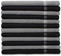 Swiss Republic Cotton Hand Towel Set 12 Hand Towels, Dark Grey, Light Grey