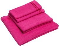 Konark Cotton Set Of Towels Large Bath Towel, Medium Bath Towel, 2 Hand Towels, Dark Pink