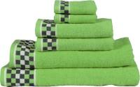 RR Textile House Cotton Bath, Hand & Face Towel Set 6, Green