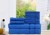 Story@home Cotton Bath, Hand & Face Towel Set 2 Bath Towel, 2 Hand Towel, 10 Face Towel, Blue