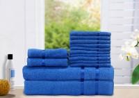 Story@home Cotton Bath, Hand & Face Towel Set 2 Bath Towel, 2 Hand Towel, 10 Face Towel, Blue