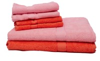 Trident Group Cotton Bath & Hand Towel Set 2 Bath Towels 30x60 Inches, 4 Hand Towels 16x24 Inches, Pink, Orange