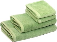 Skumars Love Touch Cotton Bath & Hand Towel Set 2 Bath Towels And 2 Hand Towels, Olive Green