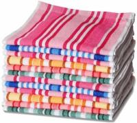 ShopSince Cotton Hand Towel ShopSince Multicolor Stripes Cotton Hand Towels Set Of 12, Multicolor