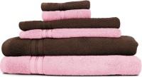 Swiss Republic Cotton Bath, Hand & Face Towel Set 2 Bath Towel, 2 Hand Towel, 2 Face Towel, Light Pink, Dark Brown