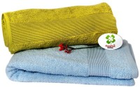 GoodVal Home Cotton Bath Towel Set 2 Bath Towels, Green, Light Blue