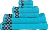 RR Textile House Cotton Bath, Hand & Face Towel Set 6, Blue