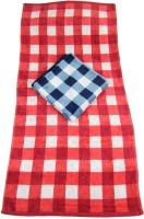 The Fancy Mart Checks Cotton Bath Towel Set Of 2 Big Towels, Red, Blue
