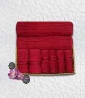 Stellar Home USA Cyrstal Cotton Bath, Hand & Face Towel Set 2 Bath Towel & 2 Hand Towel & 4 Face Towel, Red