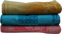 R.B Cotton Bath Towel 3 Classic Printed Large Bath Towels, Orange, Blue, Red