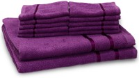Story@home Cotton Bath & Hand Towel Set 2 Bath Towel And 10 Face Towel, Purple